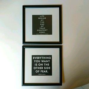 Bundle of inspirational quotes framed